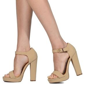 Shoe Republic Calia Ankle Buckle Closure Heels